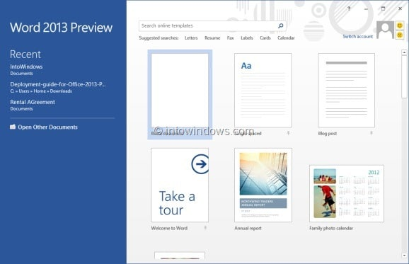 How to disable or turn off start screen in office 2013 for Window opens off screen