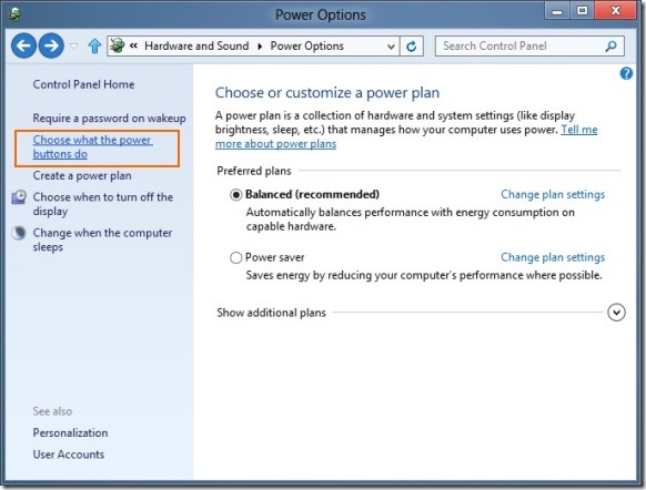 Enable Fast Startup In Windows 8 Step1