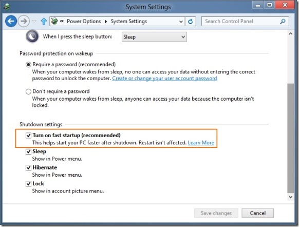 Enable Fast Startup In Windows 8