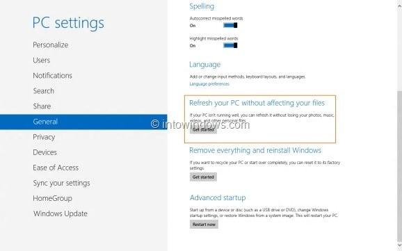 Refresh Windows 8 PC6