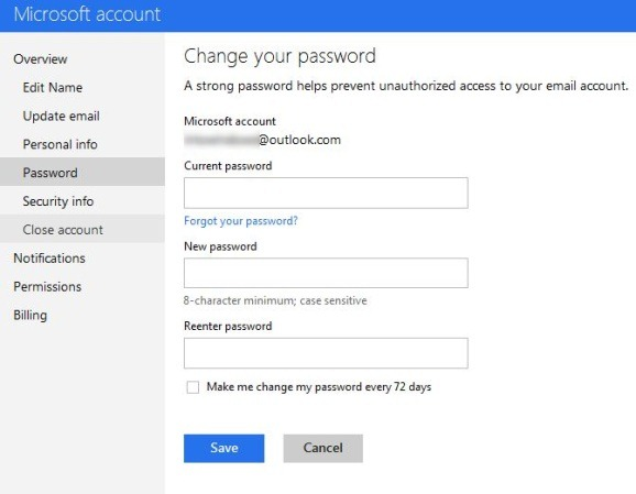 Change Outlook Account Password Step2