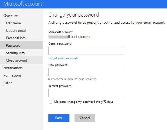 Change Outlook Account Password Step2