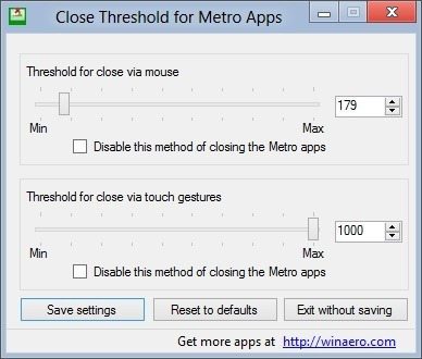 Close Threshold for Metro Apps