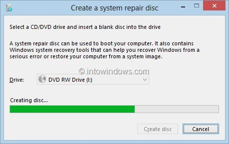 Create Windows 8 System Recovery CD or DVD Step6