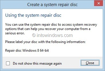 Create Windows 8 System Recovery CD or DVD Step7