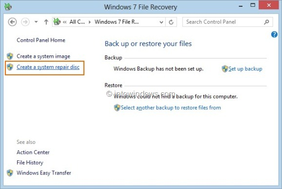 Create Windows 8 System Recovery CD or DVD
