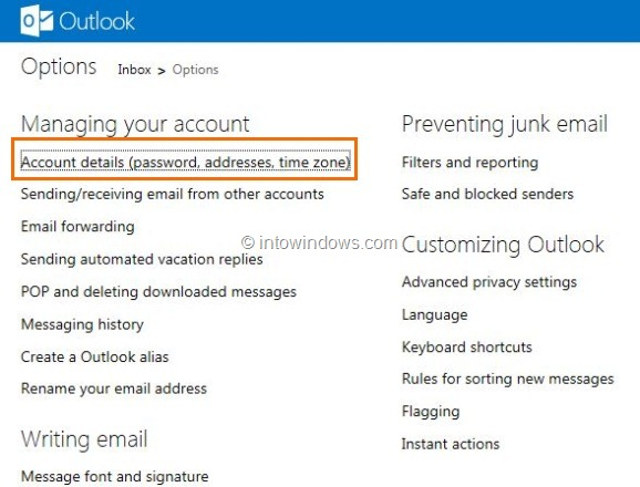 Delete or Close Outlook.com Account Step1