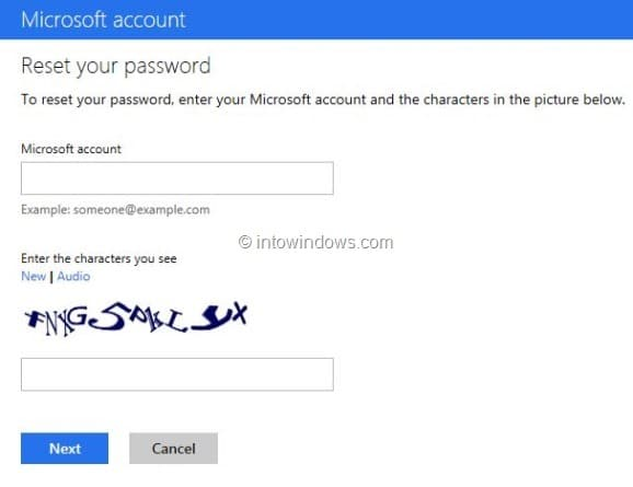 Recover Outlook.com Password Step2
