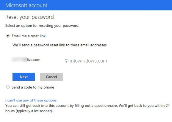 Recover Outlook.com Password Step3