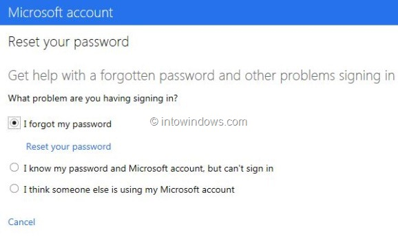 Recover Outlook.com Password