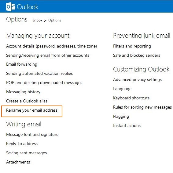 Rename Hotmail & Live Account To Outlook com