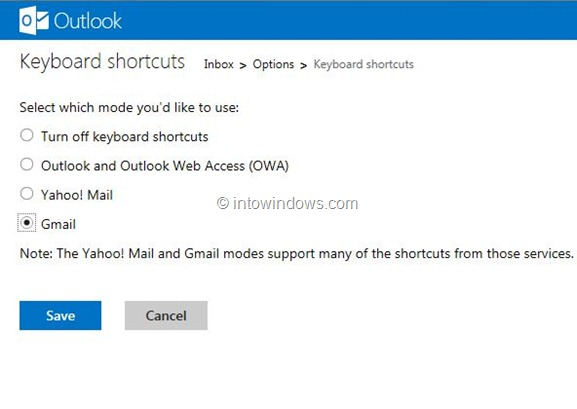 Use Gmail Keyboard Shortcuts In Outlook.com Step1