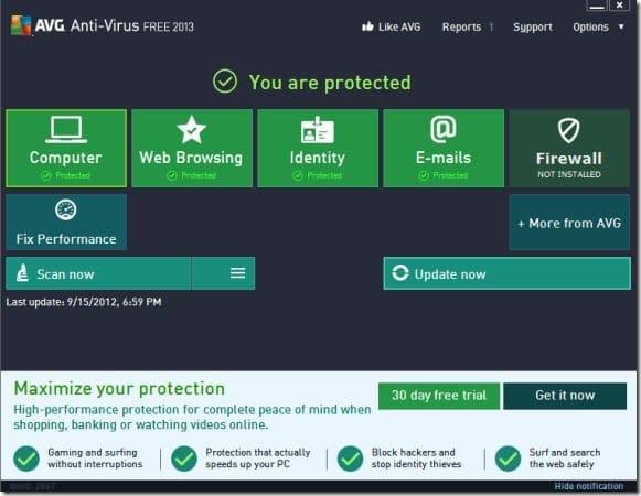 AVG Antivirus Free 2013 for Windows 8