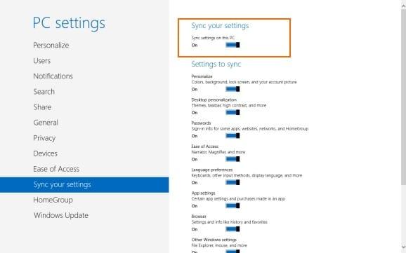 Sync Settings In Windows 8