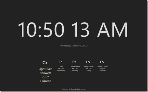 Clock and date for Start Screen In Windows 8