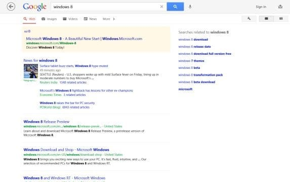 Google Search app for Windows 8