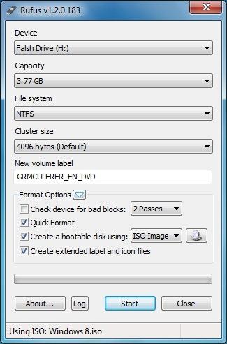 Install Windows 8 From USB Rufus