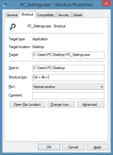 Keyboard shortcut to open PC Settings