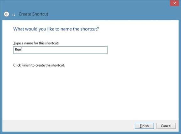 Pin Run Command To Start Screen In Windows 8 Step3