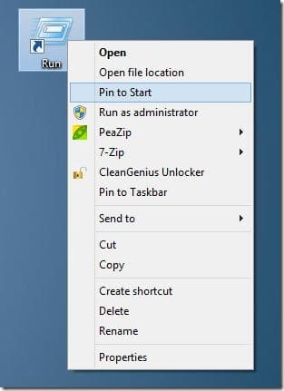 Pin Run Command To Start Screen In Windows 8 Step7