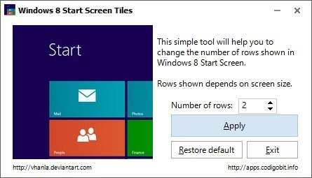 Reduce Number of Rows on The Start Screen