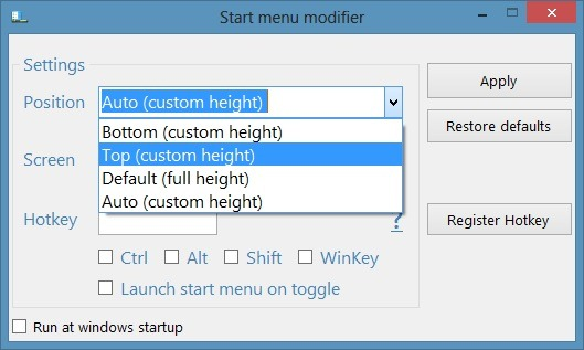 Reduce Start Screen Size In Windows 8