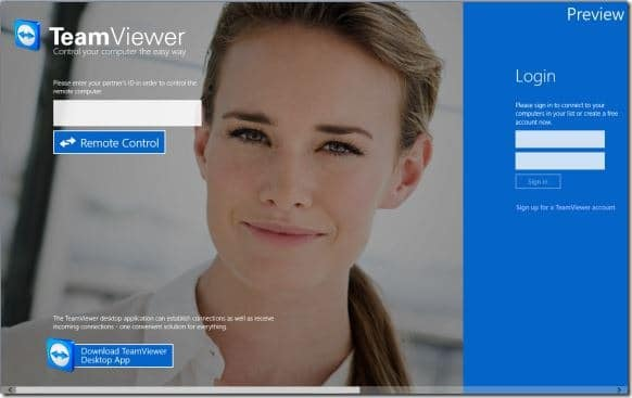 TeamViewer Touch For Windows 8