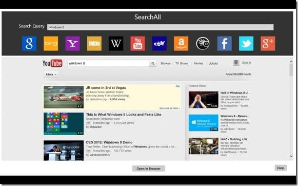 we let you know about the availability of the official  SearchAll: One App To Search Google, Bing, YouTube, Twitter  Facebook