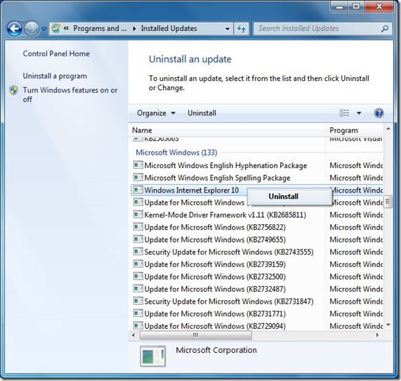 Uninstall Internet Explorer 10 Step3