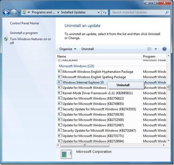 Uninstall Internet Explorer 10 Step3