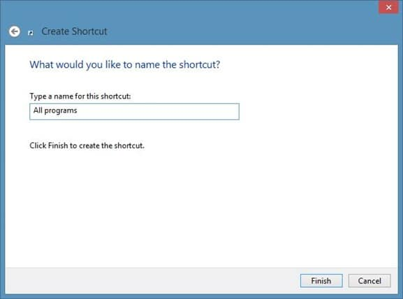 Create All Programs Shortcut On Windows 8 Desktop Step3