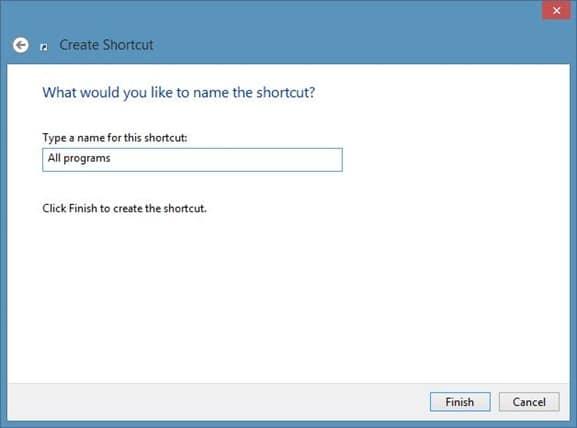 Create All Programs Shortcut On Windows 8 Desktop Step3