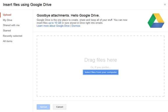 Send Large Files Via Gmail Step2