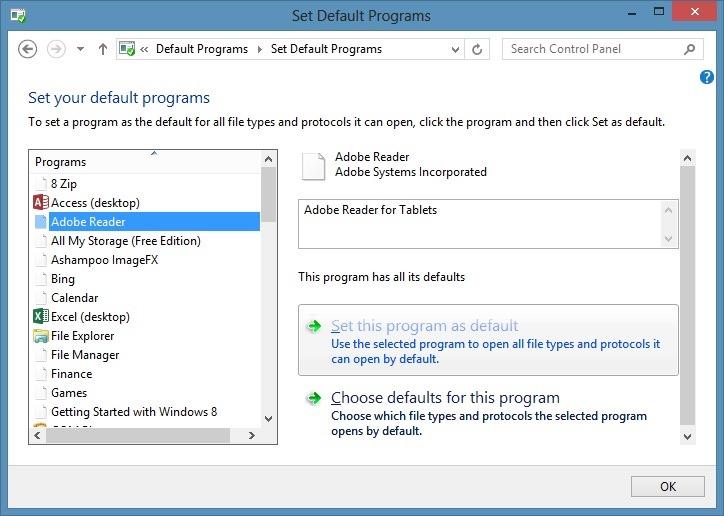 make adobe default to open pdf