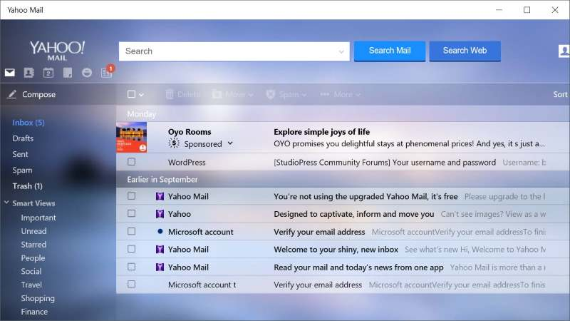 Yahoo Mail for Windows 10