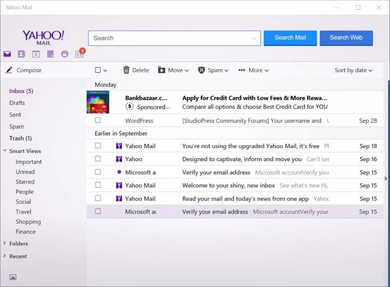 Yahoo Mail Windows 10