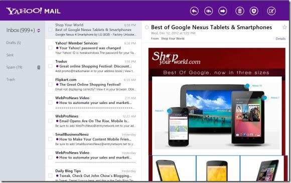 Yahoo! Mail app for Windows 8 Picture1
