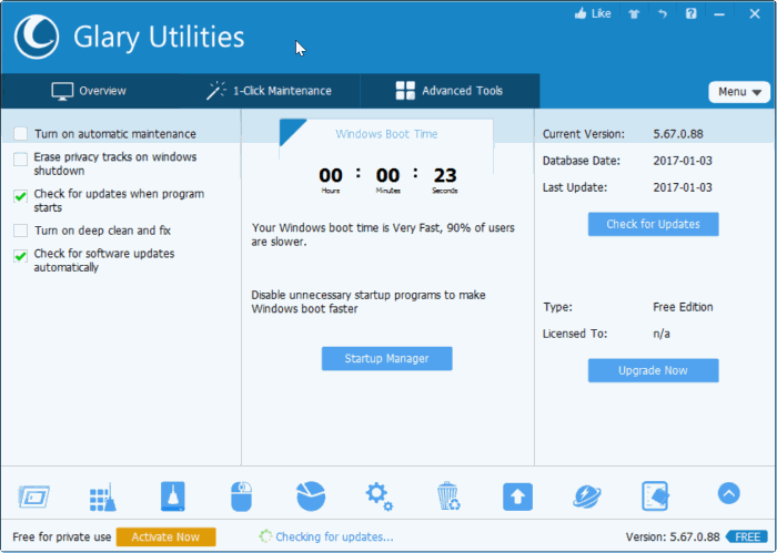 known system maintenance software available for Windows Glary Utilities For Windows 10/8