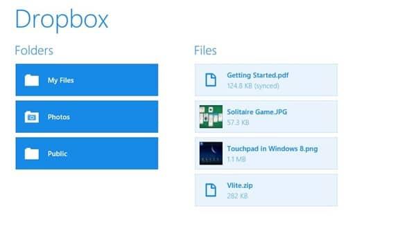 Dropbox app Windows 8