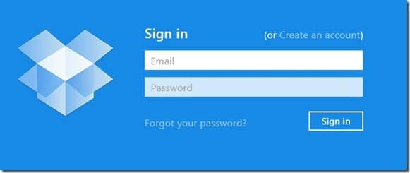 Dropbox app for Windows 8