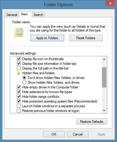 Folder Options In Windows 8