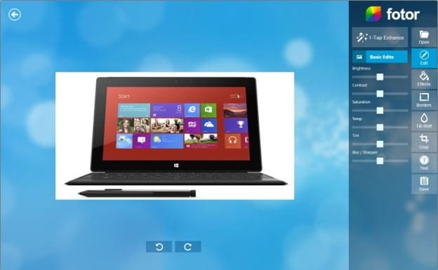 Fotor app for Windows 8