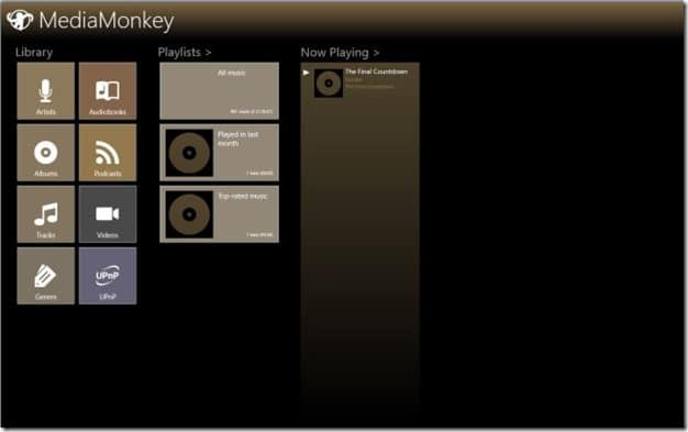 MediaMonkey app for Windows 8 Picture1