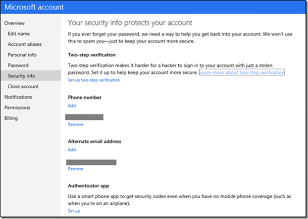 Enable two step verification for Microsoft account