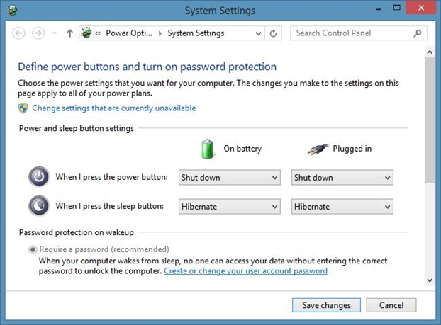 Change Power Button Action in Windows 8