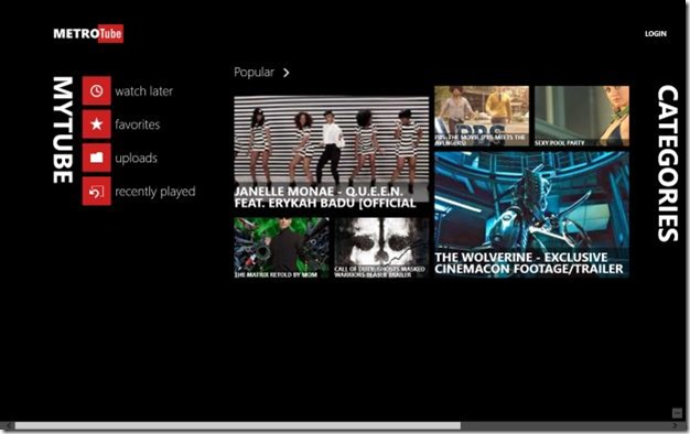 MetroTube app for Windows 8 Picture1