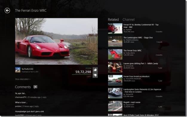 MetroTube app for Windows 8 Picture2