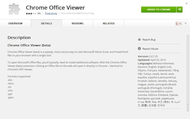 Open Office Word, Excel and PowerPoint files in Chrome browser