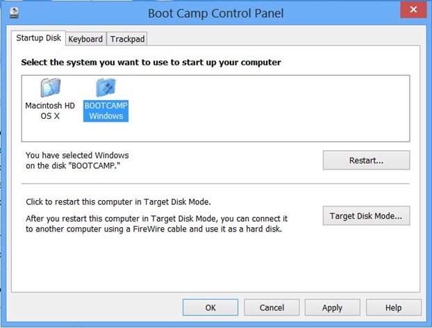 Set Windows as default OS in Boot Camp on Mac