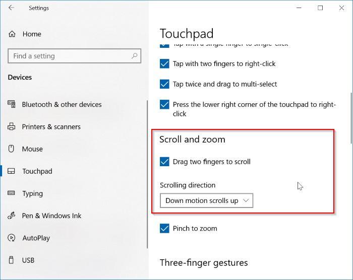 enable two finger scrolling in Windows 10